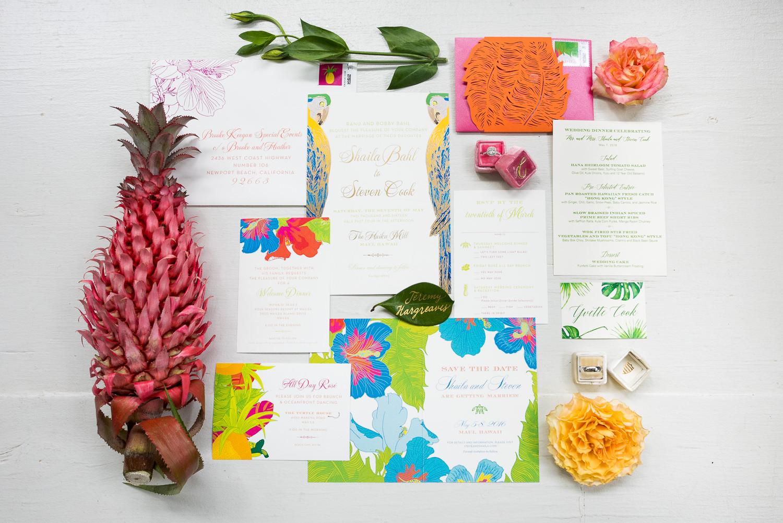Invitations by Ceci of New York at Haiku Mill Wedding in Maui Hawaii