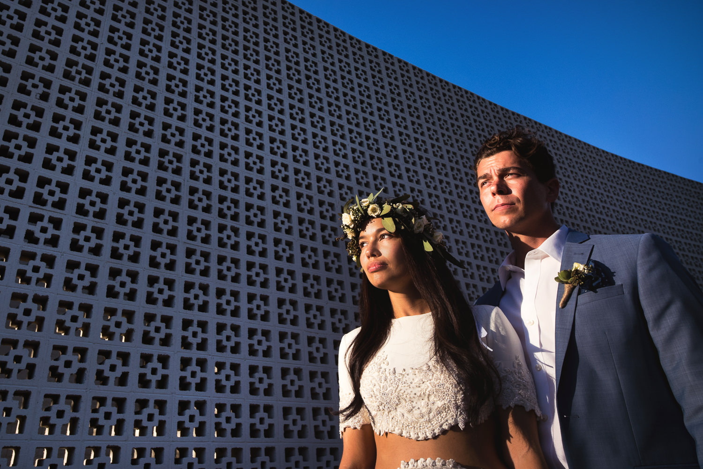 Parker Palm Springs Wedding - Sunlit Shot Of Couple