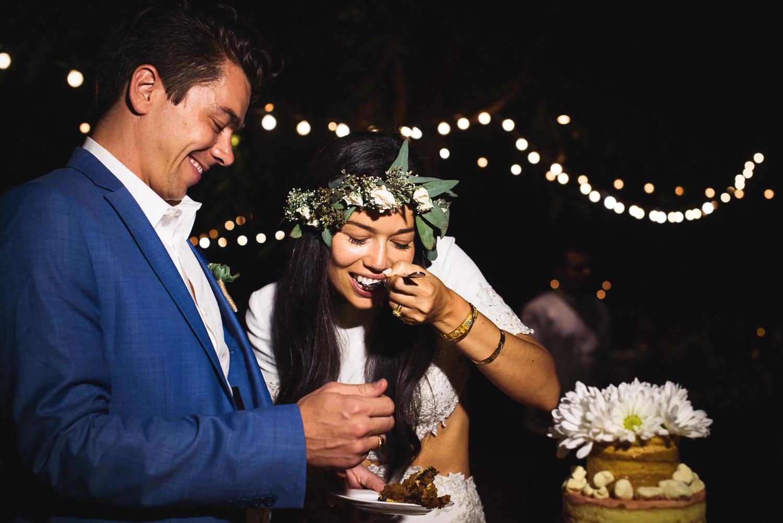 Parker Palm Springs Wedding - Enjoying Their Milk Bar Cake