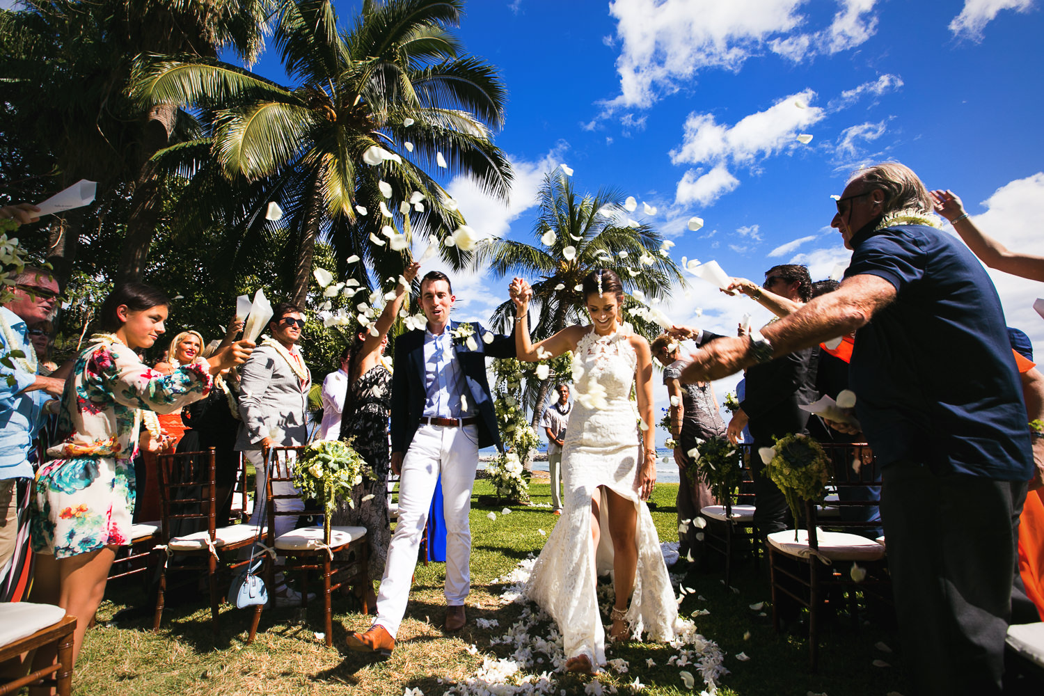 Just married at Olowalu Plantation House wedding
