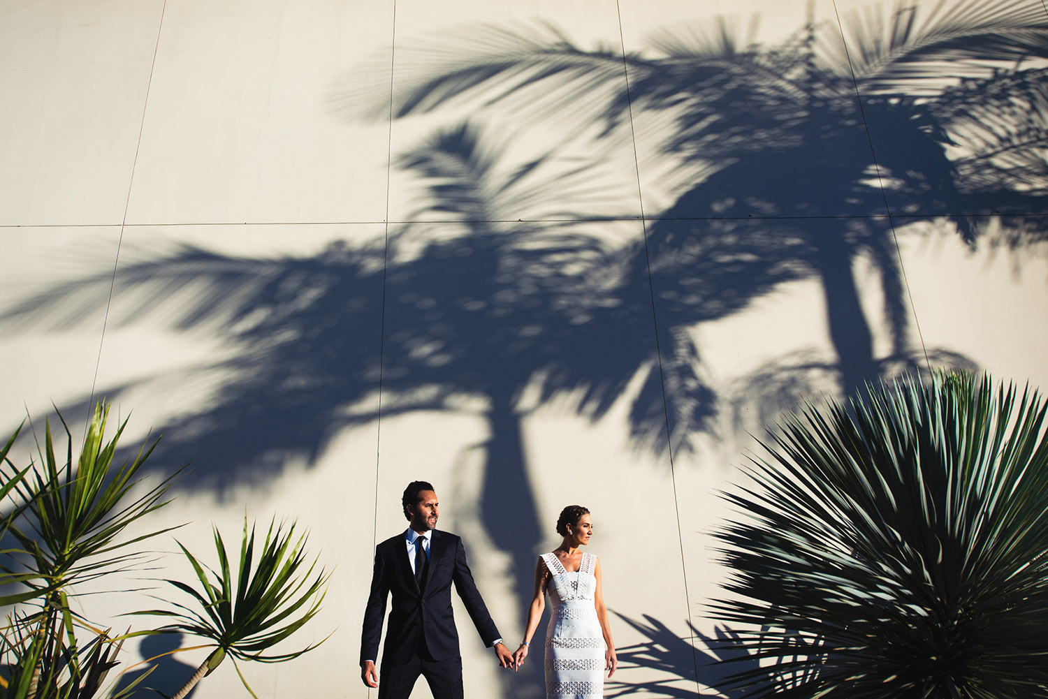 Amazing Hinoki & the Bird wedding photo with palm trees