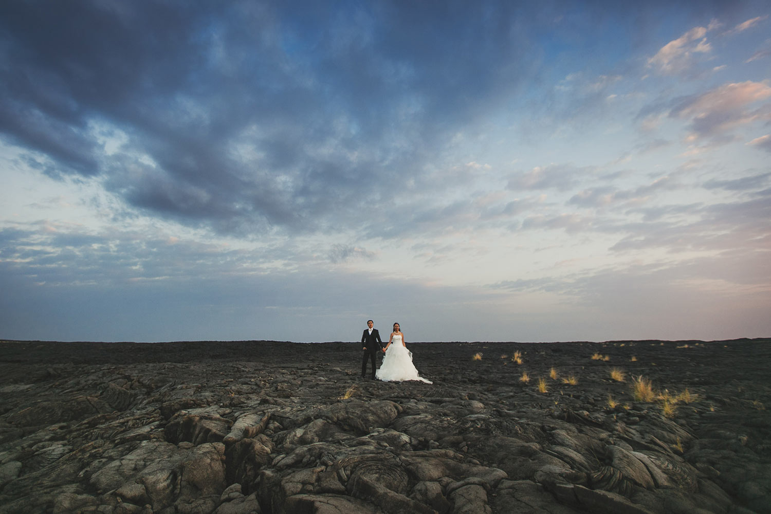 Kona lava field wedding photo on the Big Island