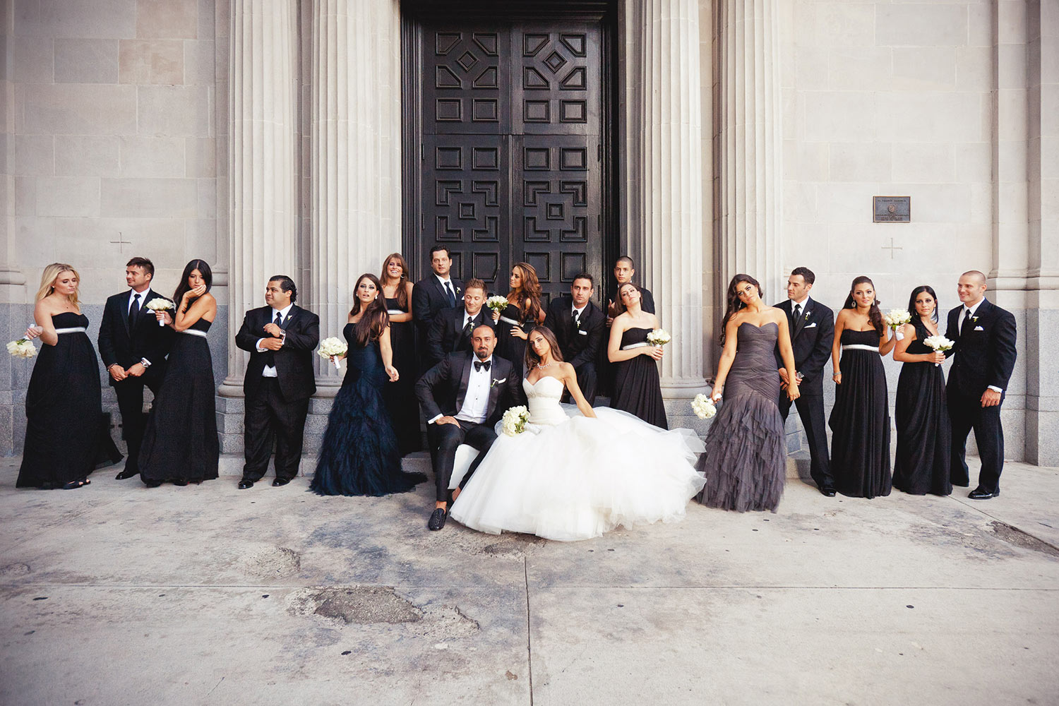 Best Bridal party in front of the big front doors at Vibiana in Los Angeles