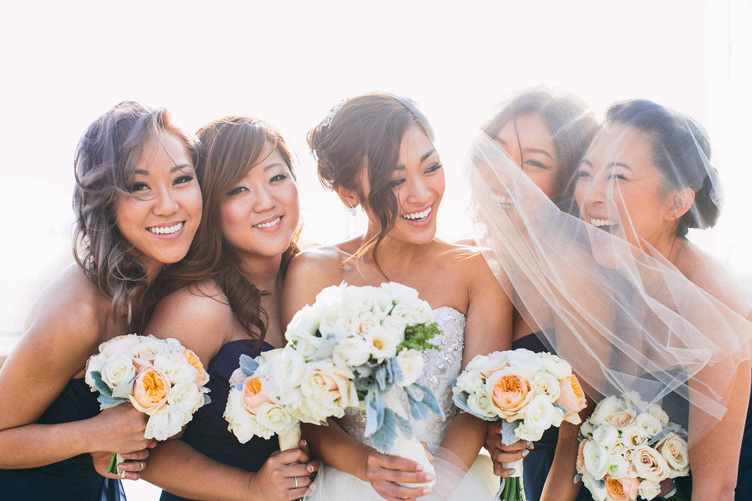 Asian bridesmaids at Los Angeles Athletic Club