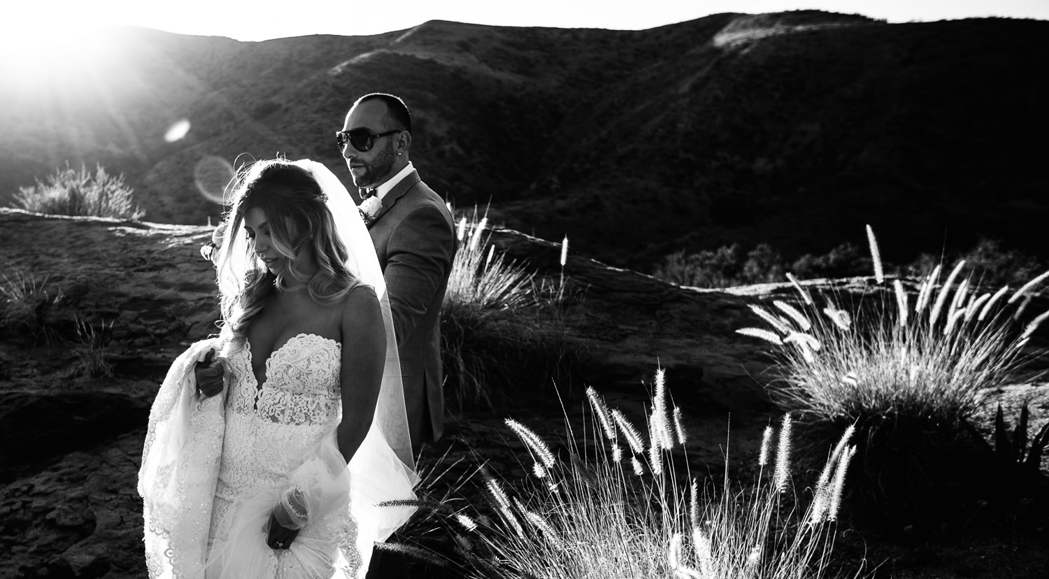 Sexy and fashionable bride and groom photo at Hummingbird Nest wedding by Callaway Gable