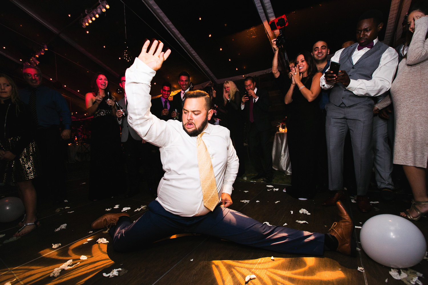doing the splits at the reception