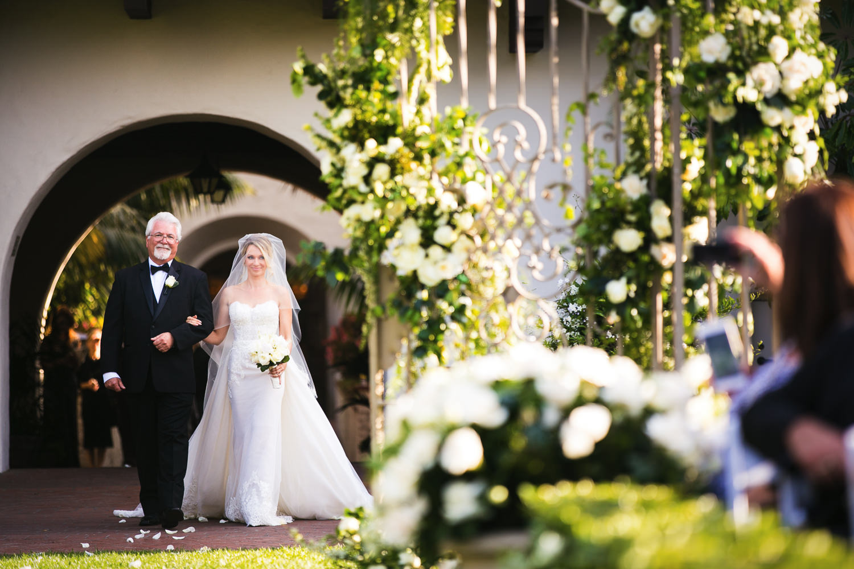 Four Seasons Santa Barbara Wedding - Bride Walking Down The Aisle