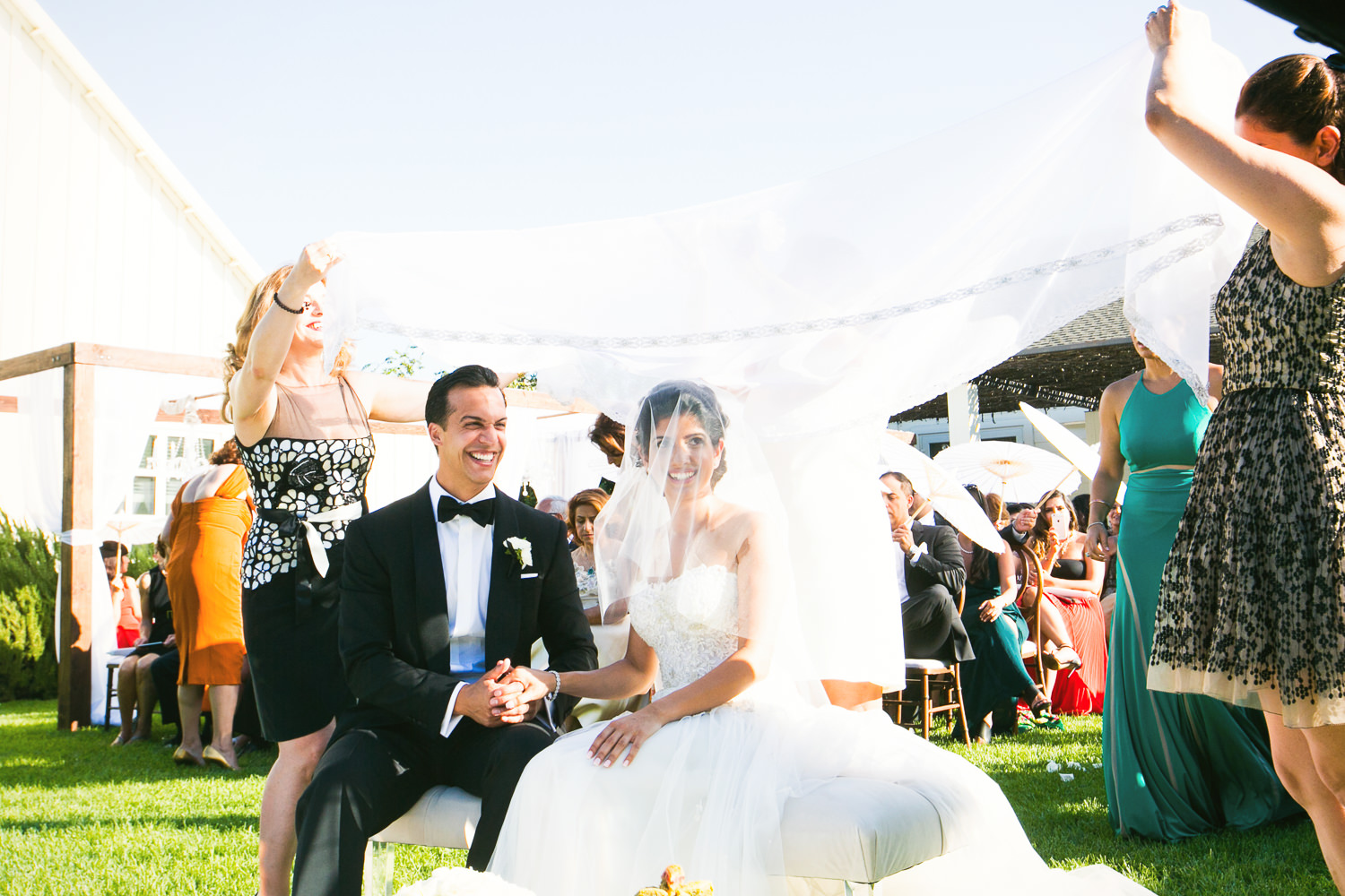 Persian wedding ceremony on the lawn at the Solage Resort in Calistoga, just outside of Napa