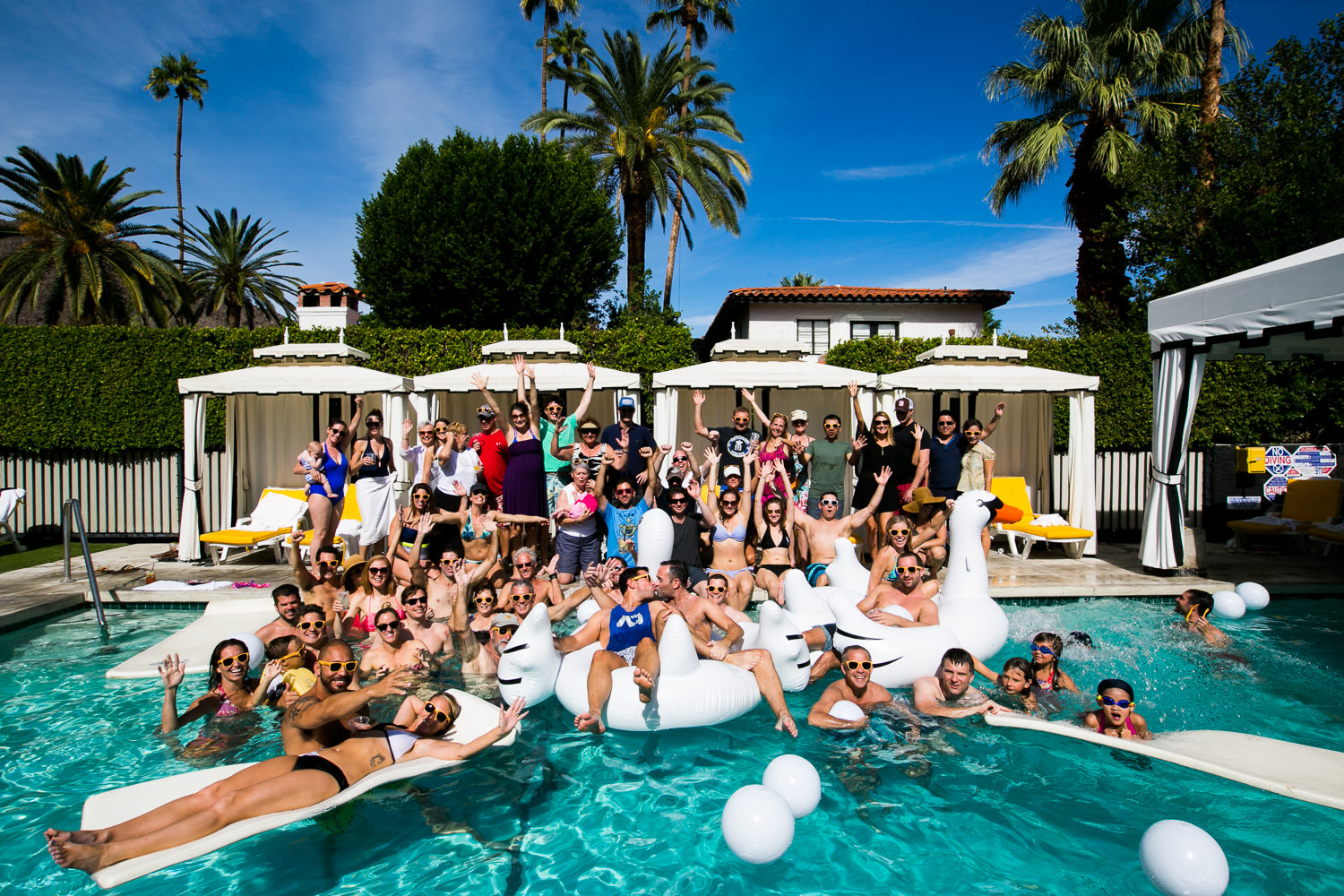 Same Sex Avalon Palm Springs Wedding - Wedding Party At Pool