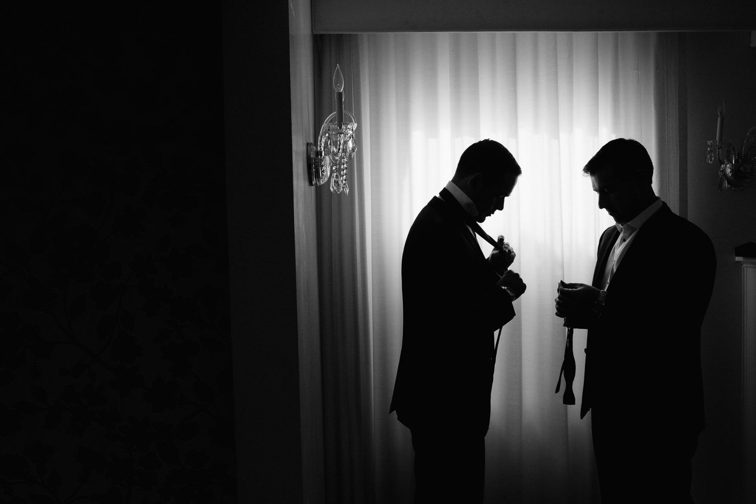 Same Sex Avalon Palm Springs Wedding - Black and White Getting Ready
