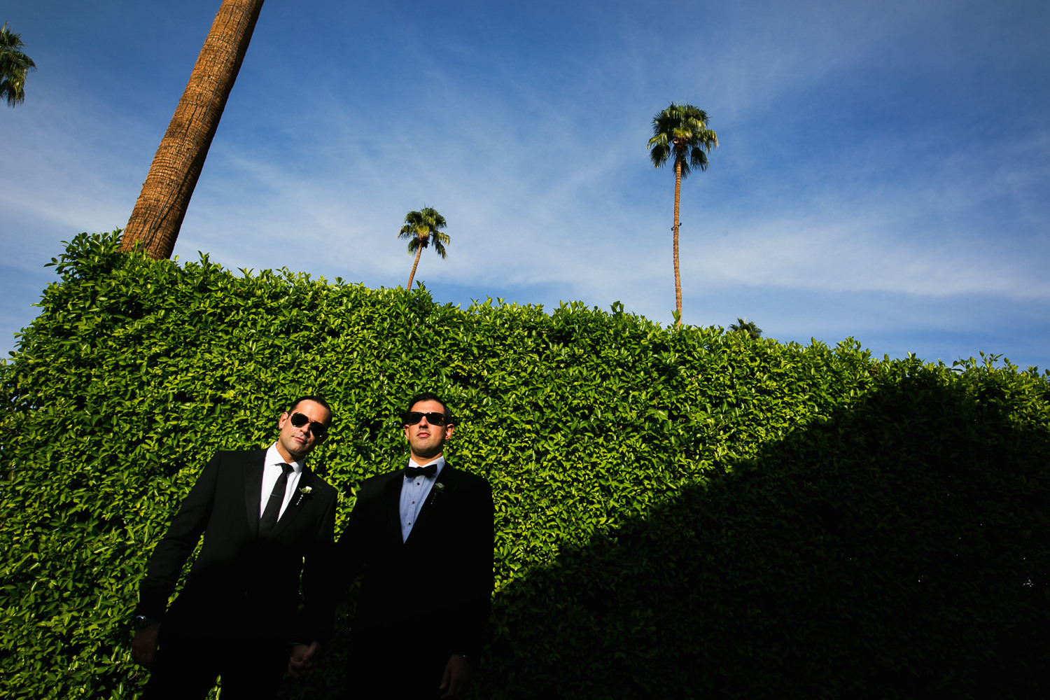 Same Sex Avalon Palm Springs Wedding - Together by the Ficus Hedge