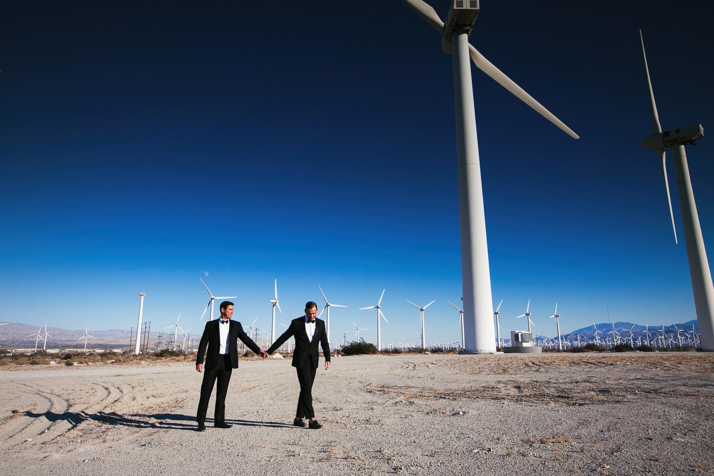 Same Sex Avalon Palm Springs Wedding - Under the wind turbines