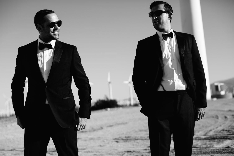 Same Sex Avalon Palm Springs Wedding - Wind turbine black and white