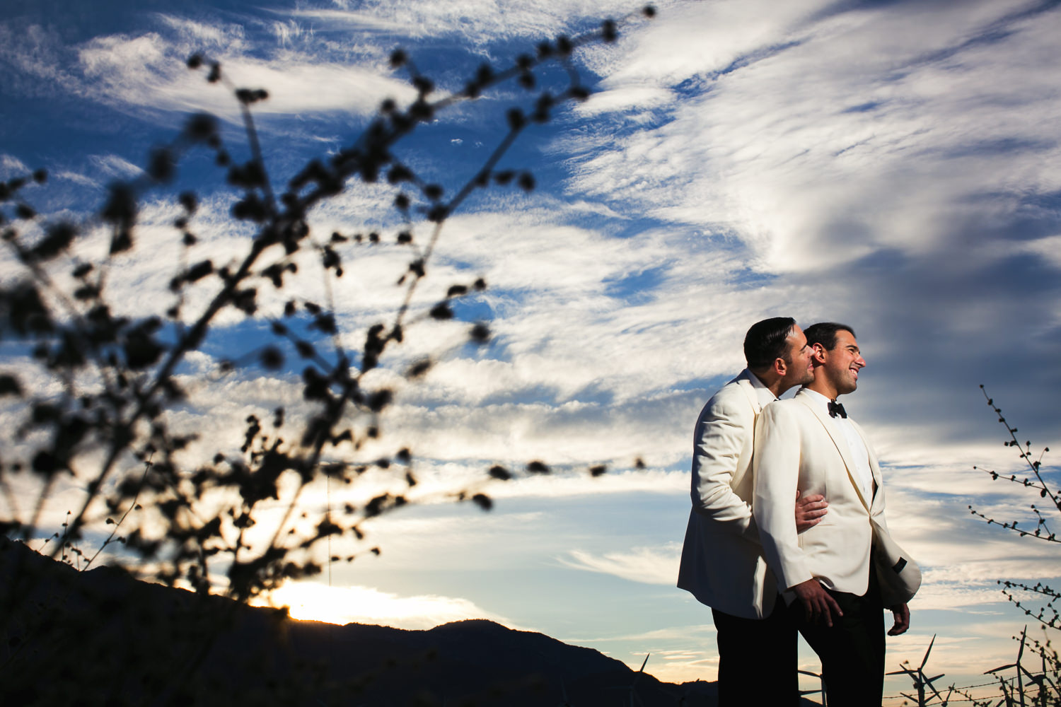 Same Sex Avalon Palm Springs Wedding - Gorgeous Shot Of Couple Under Sunset Sky
