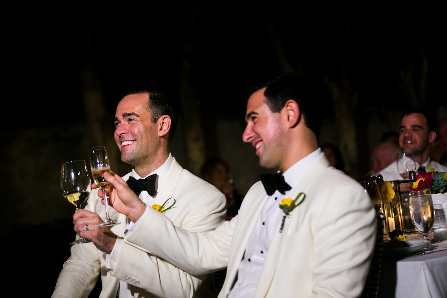 Same Sex Avalon Palm Springs Wedding - Toasting Together At Reception