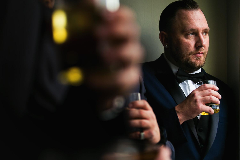 SLS Beverly Hills Wedding - Groomsmen Having a Drink