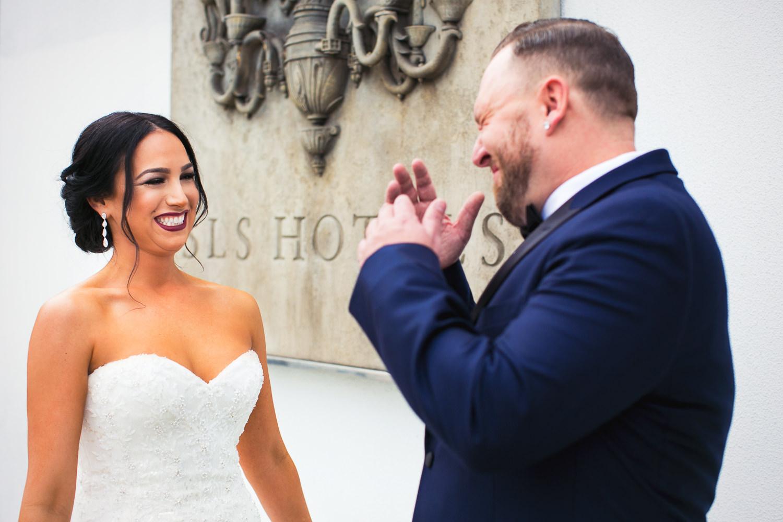 SLS Beverly Hills Wedding - Bride & Groom Laughing