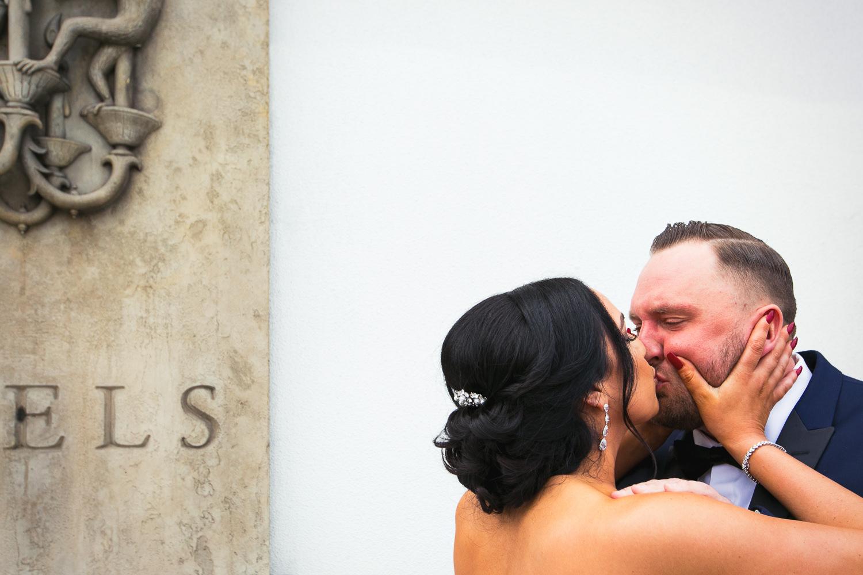 SLS Beverly Hills Wedding - Bride & Groom Kiss Before Ceremony