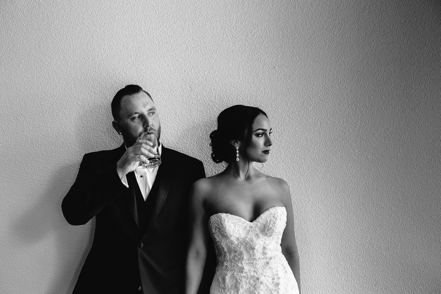 SLS Beverly Hills Wedding - Black and White Portrait of Bride and Groom