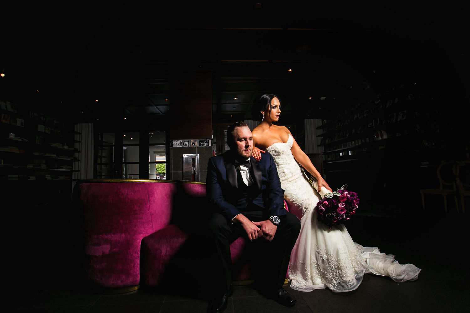 SLS Beverly Hills Wedding - Classy Photo Of Bride and Groom Together In SLS Beverly Hills