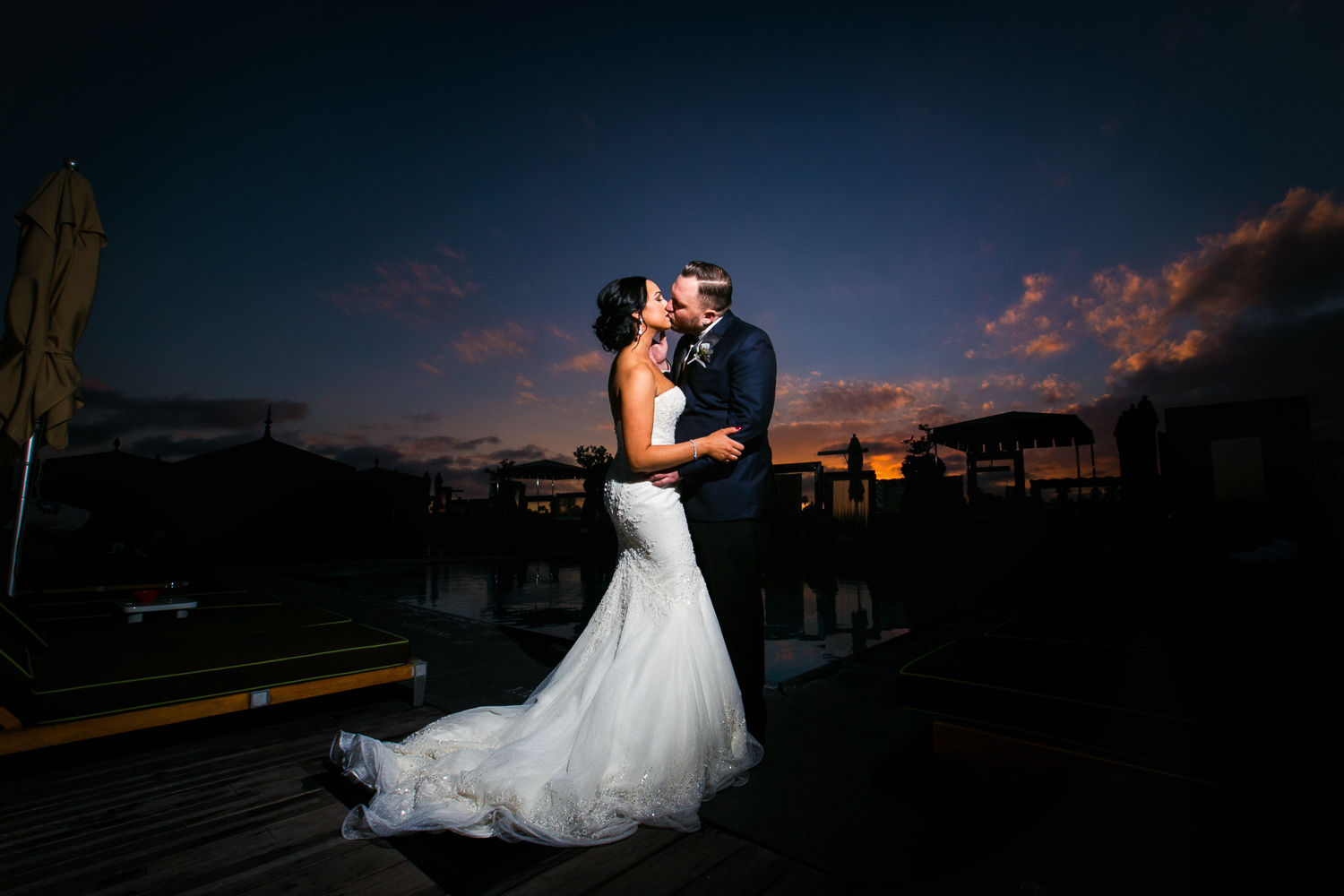 SLS Beverly Hills Wedding - Kissing in the Sunset