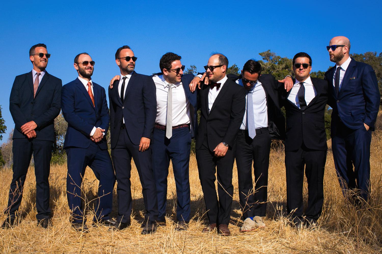 Los Olivos Wedding - Groomsmen Pose in Pretty Wedding