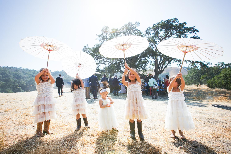 Los Olivos Wedding - Kids with Sun Umbrellas in Natural Light