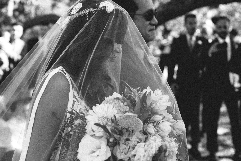 Los Olivos Wedding - Bride walking the aisle
