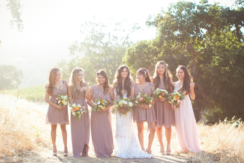Los Olivos Wedding - Bridal Party in Pretty Wedding