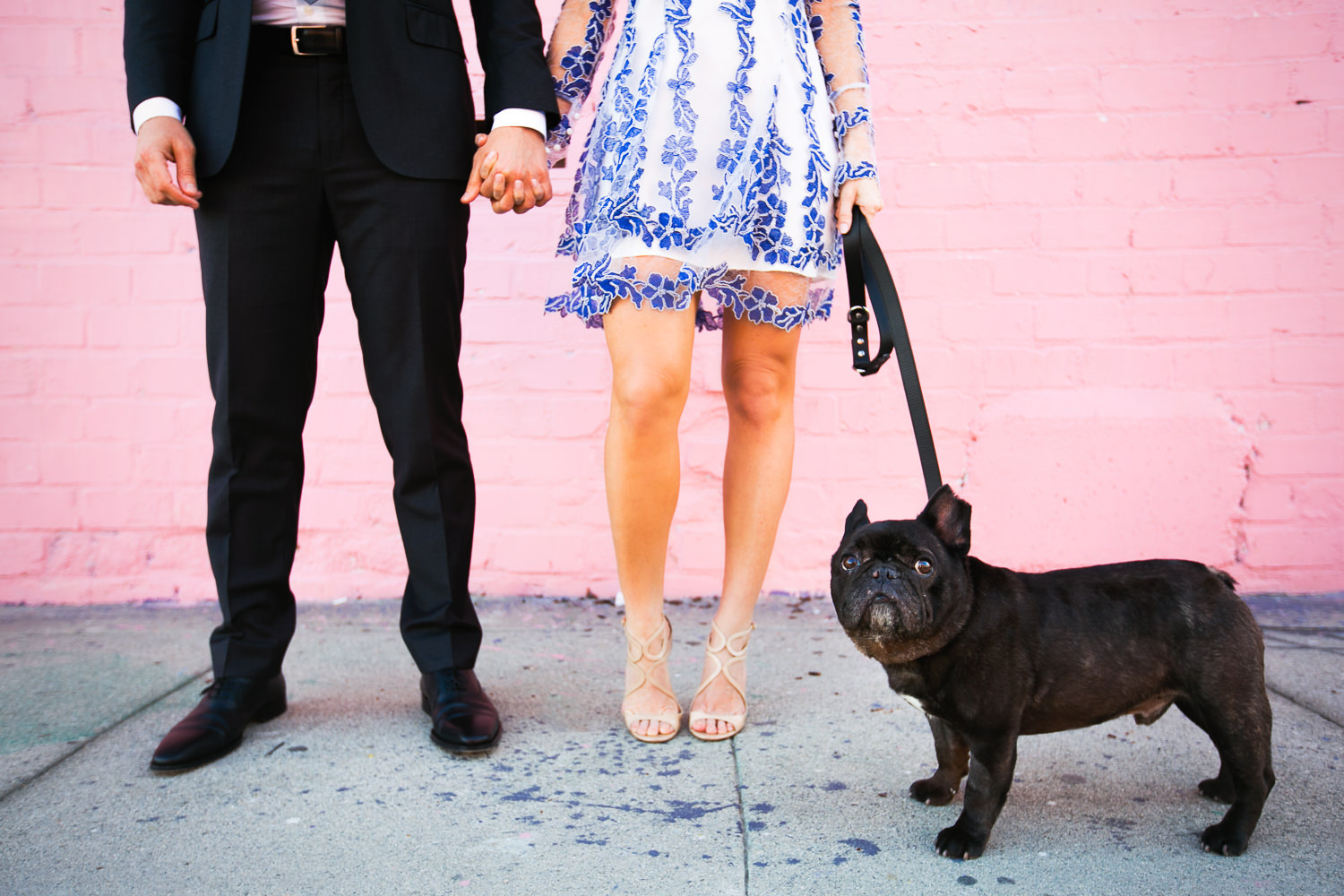Colorful and fun Los Angeles engagement photo with pug dog