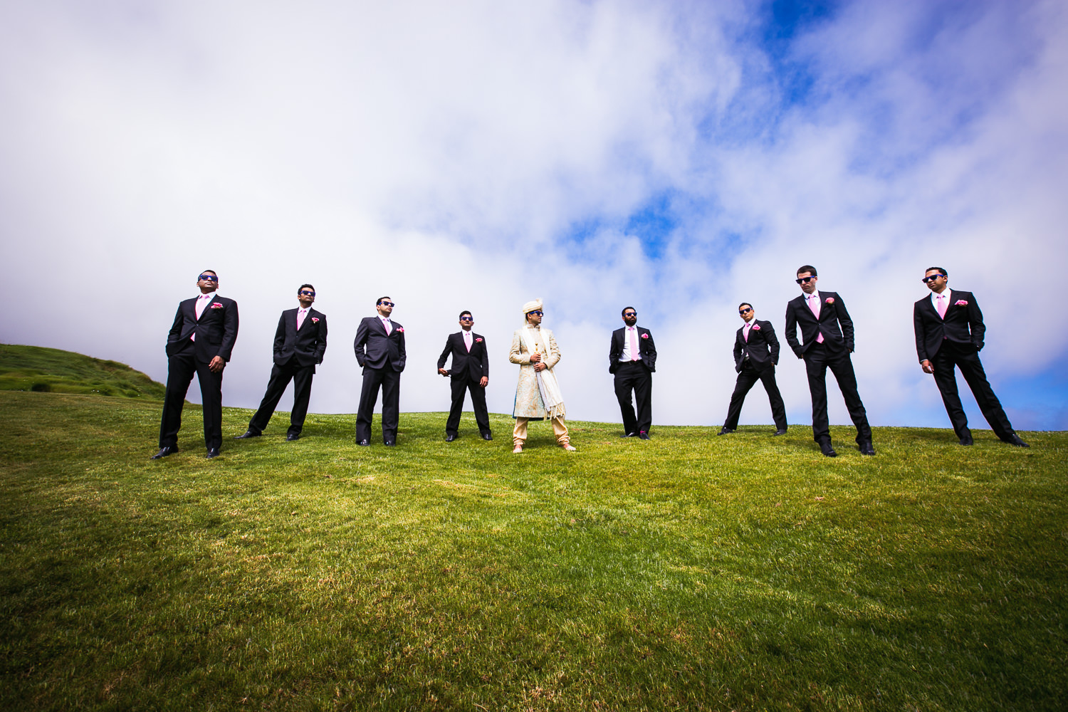 Trump National Golf Club Wedding - Groom with Groomsmen