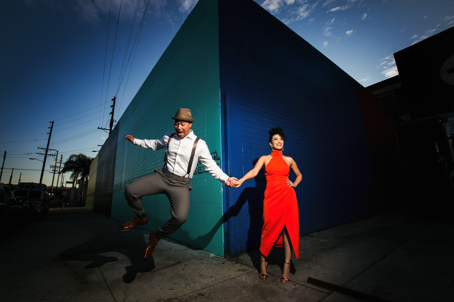 Fashionable Engagement in Downtown Los Angeles - Hand in Hand and in Love