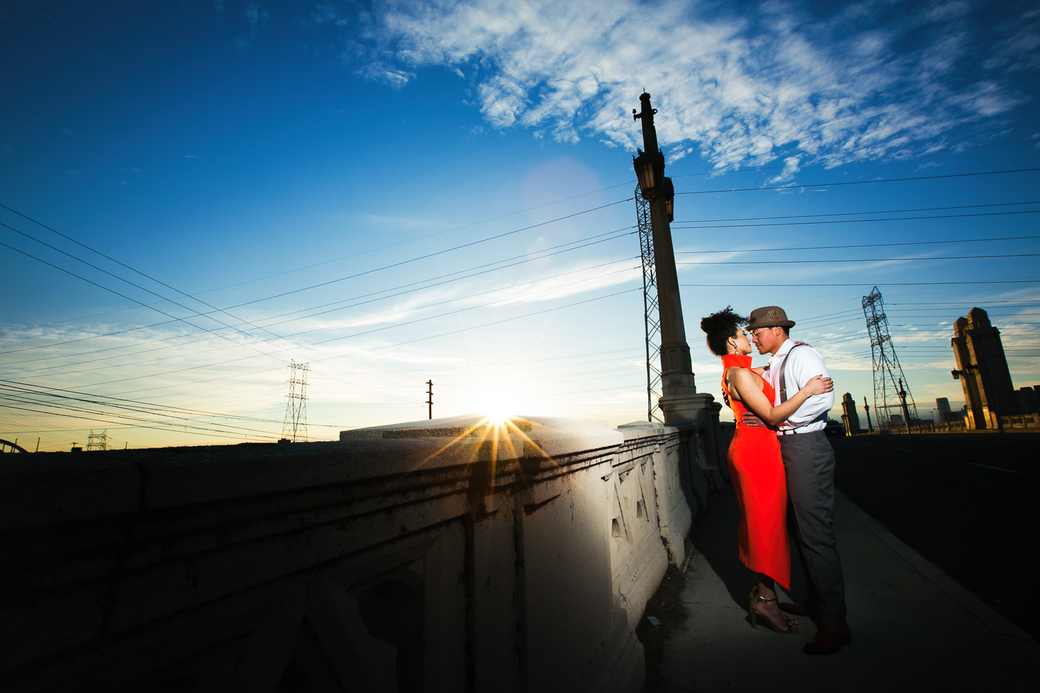 Fashionable Engagement in Downtown Los Angeles - Holding Each Other Under the Sky
