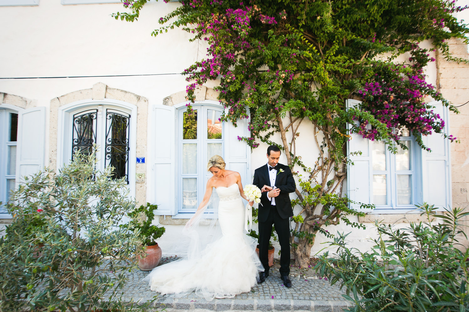Turkey Wedding - Turkish bride and Persian groom walking together in Alcati