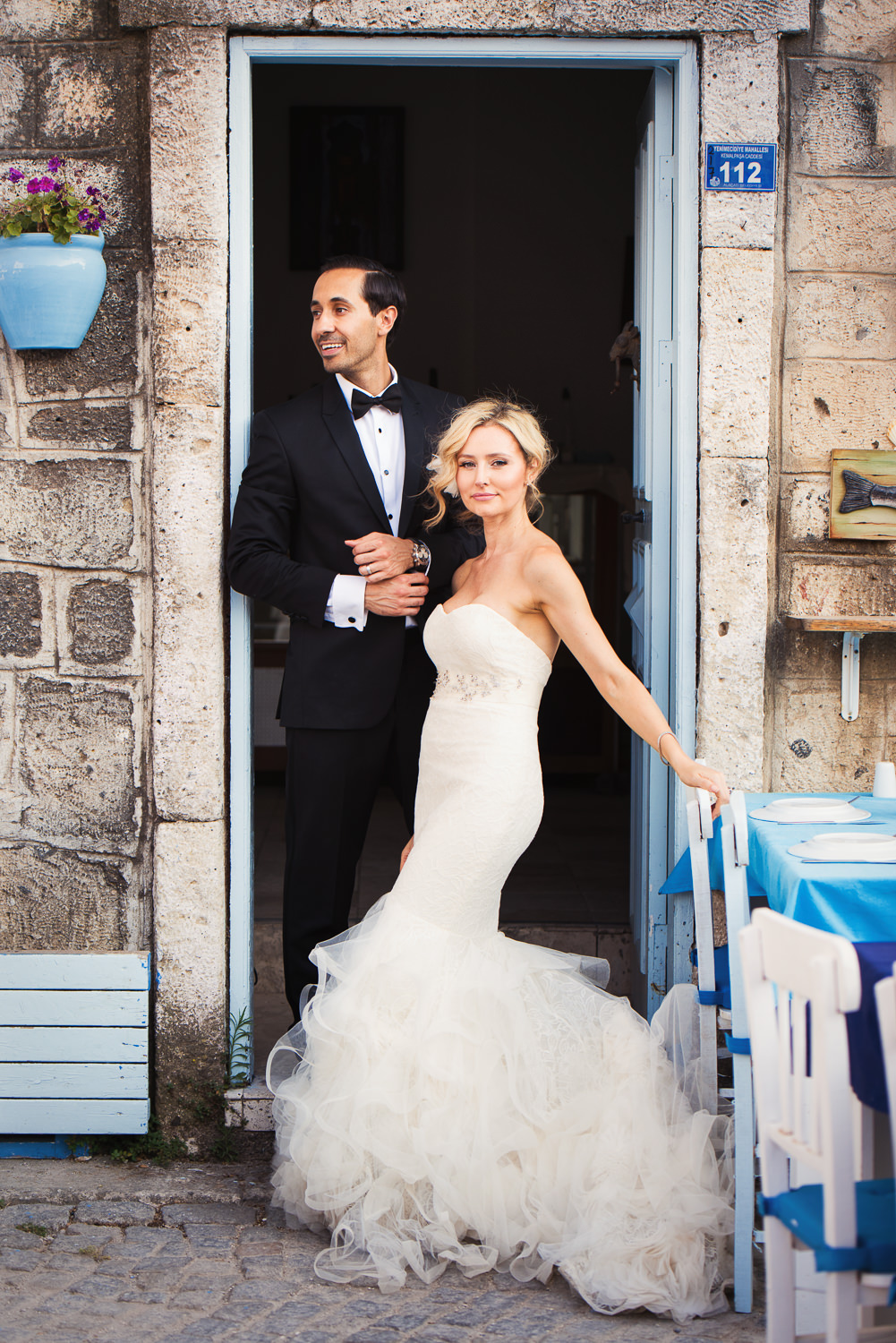 Turkey Wedding - Bride and Groom together in Alcati Doorway
