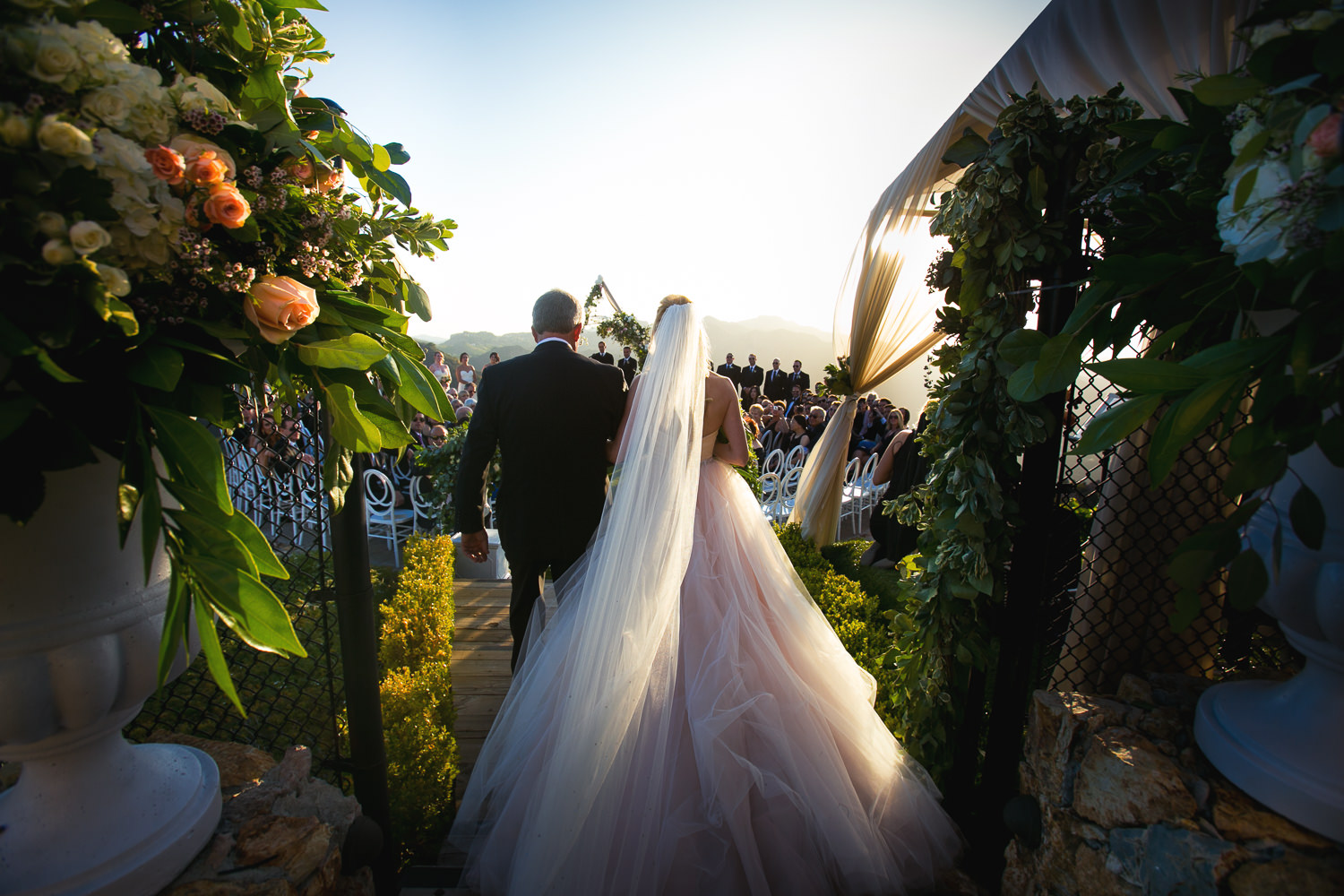 Malibu Rocky Oaks Photographer - Bride Walking The Aisle