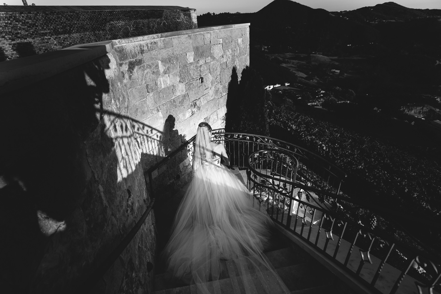 Malibu Rocky Oaks Photographer - Bride Coming Down the Stairs