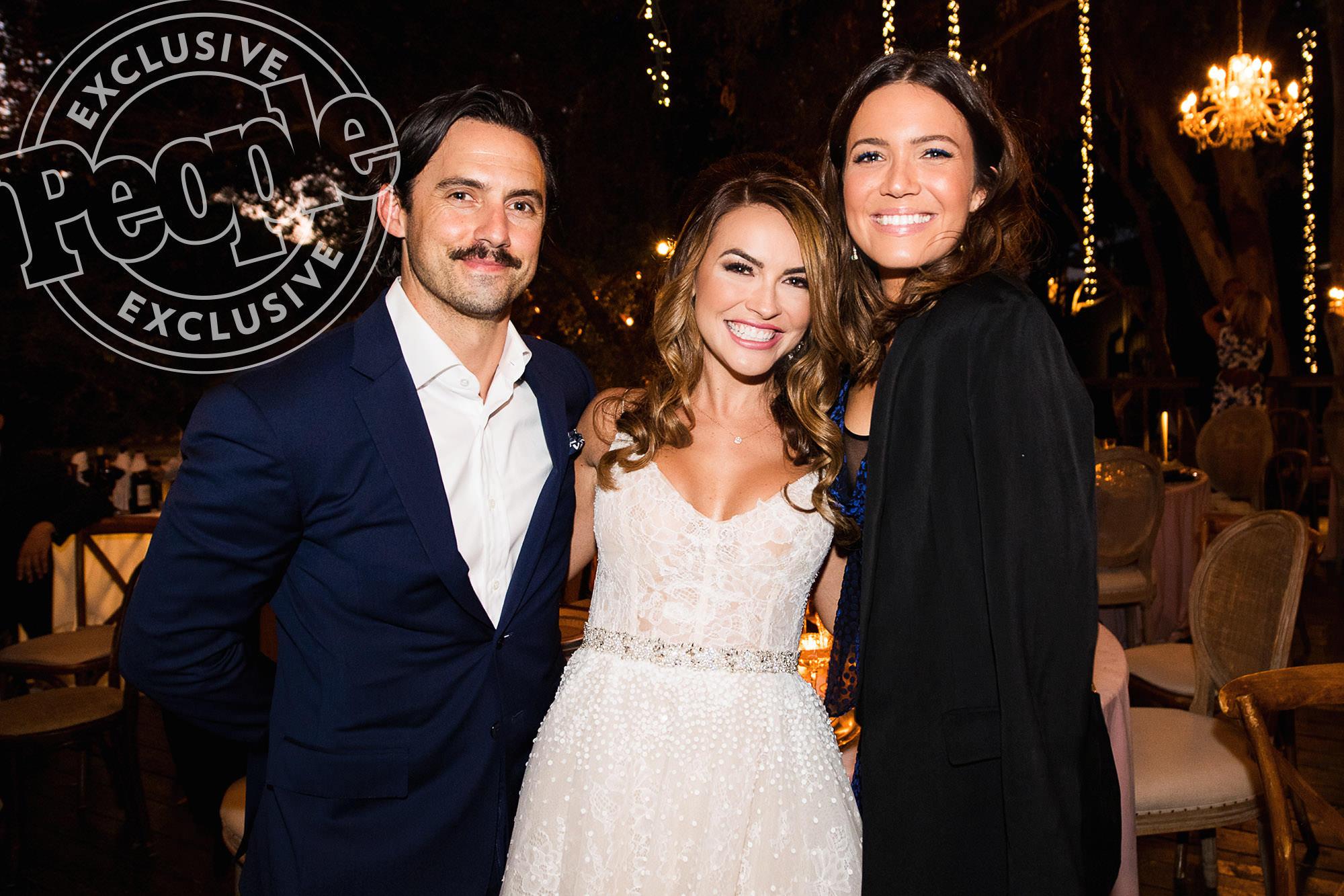 Justin Hartley wedding photo of Chrishell Stause, Milo Ventimiglia and  Mandy Moore