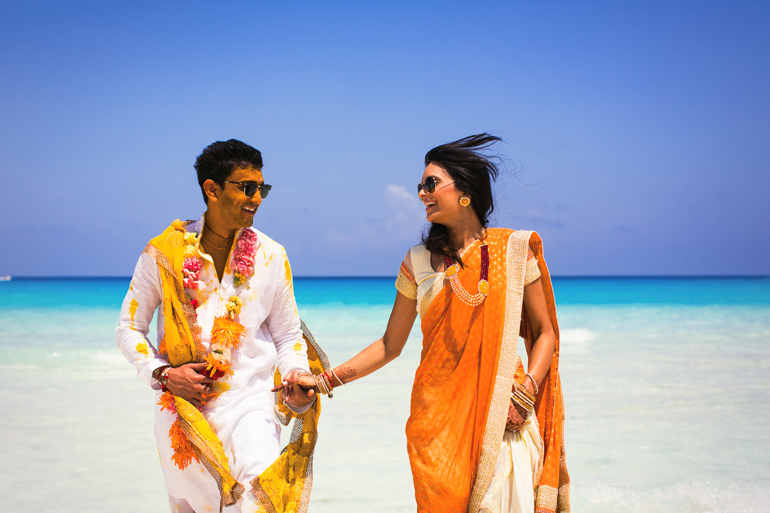 Paradisus Cancun Indian Wedding - Bride and Groom on the beach