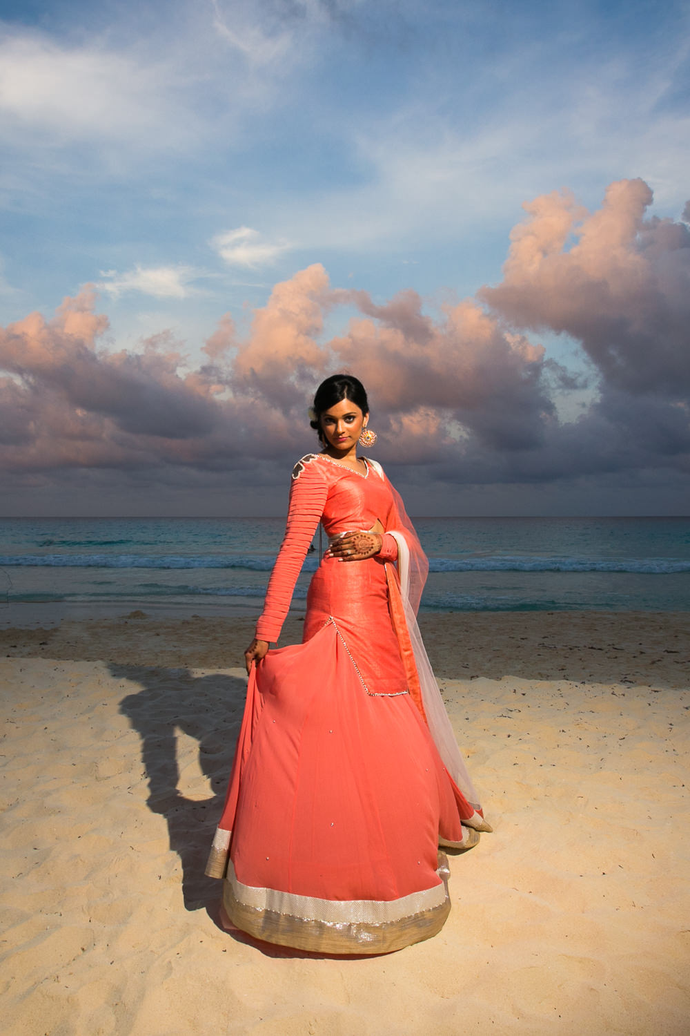 Paradisus Cancun Indian Wedding - Bride Portrait on the Beach with Dramatic Sky