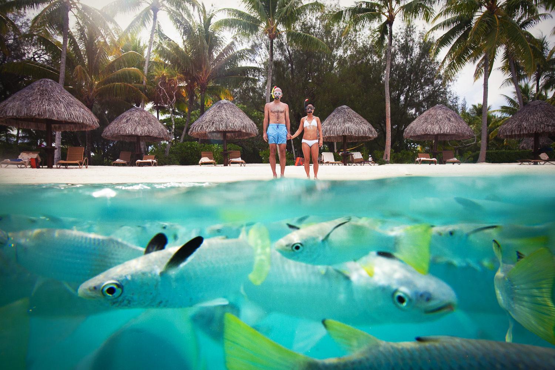 Four Seasons Bora Bora Wedding - Hand in Hand by the Ocean