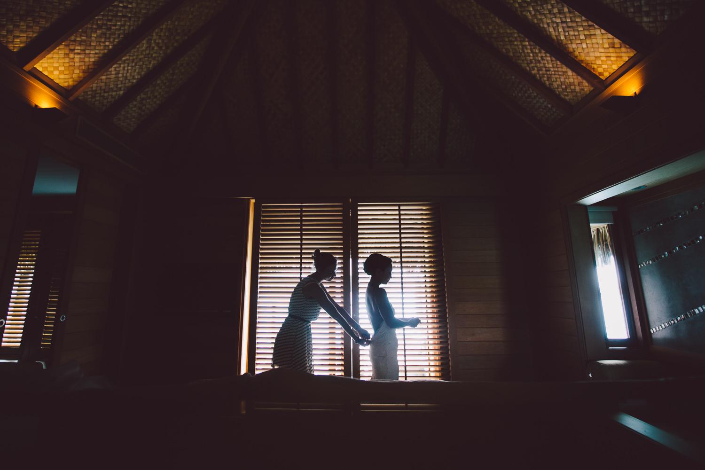 Four Seasons Bora Bora Wedding - Putting the wedding dress on