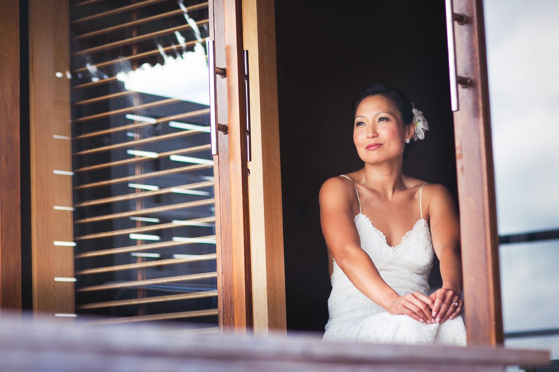 Four Seasons Bora Bora Wedding - Perched on a window ledge