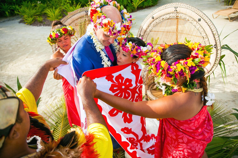 Four Seasons Bora Bora Wedding - Wrapped in the wedding cloth