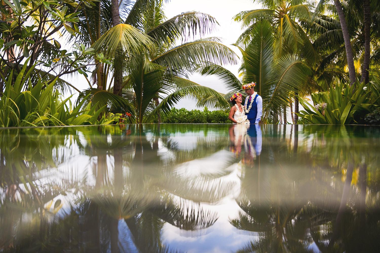 Four Seasons Bora Bora Wedding - Holding each other