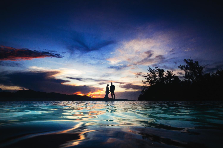 Four Seasons Bora Bora Wedding - Gorgeous sunset in Bora Bora