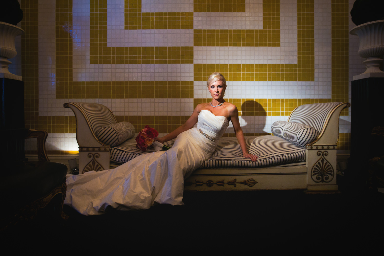 Avalon Palm Springs Photographer - Bride lounging on couch