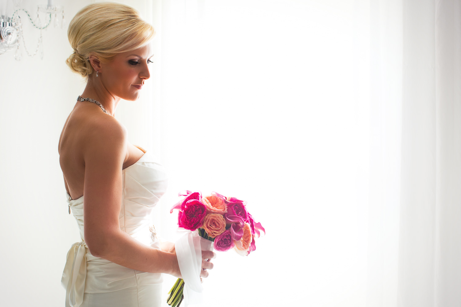 Avalon Palm Springs Photographer - Beautiful Bride with her flowers