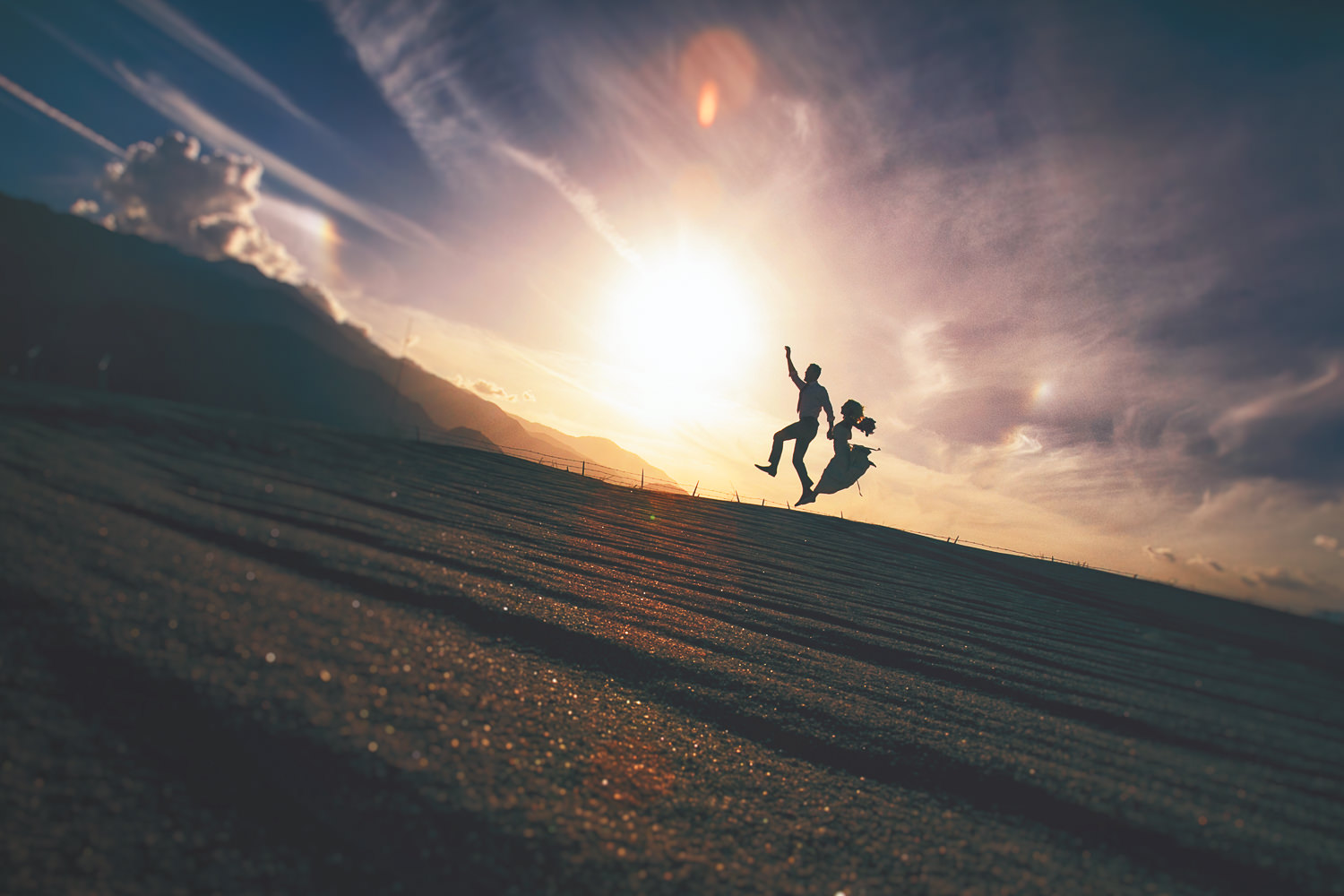 Avalon Palm Springs Photographer - Jumping into the sunset