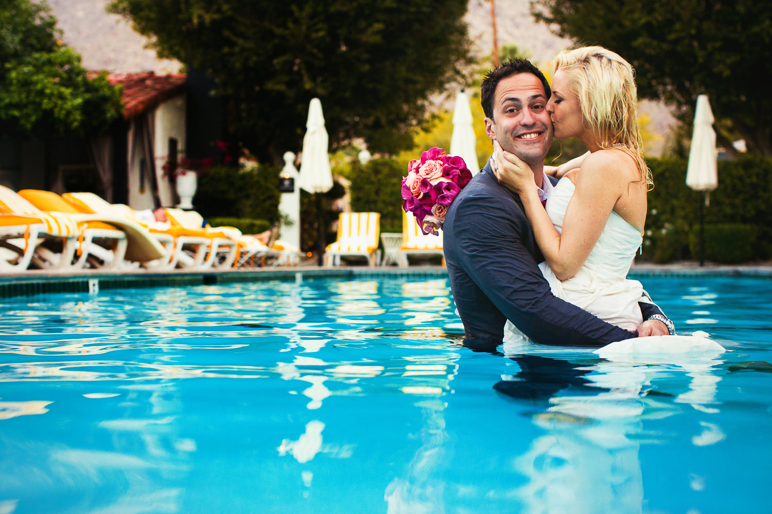 Avalon Palm Springs Photographer - Joy and love in the pool